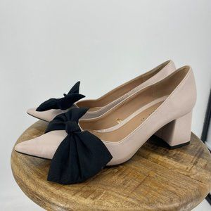 Zara  | 10. Pink Block Heel Pointed Toe Bow Pumps